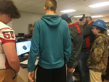 Students learning about additive manufacturing design